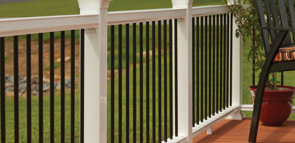 Horizon Railing in Mission with black balusters