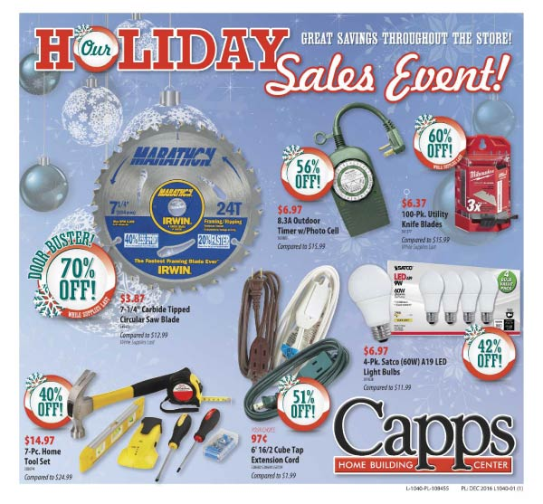 Capps Holiday Sale 2016