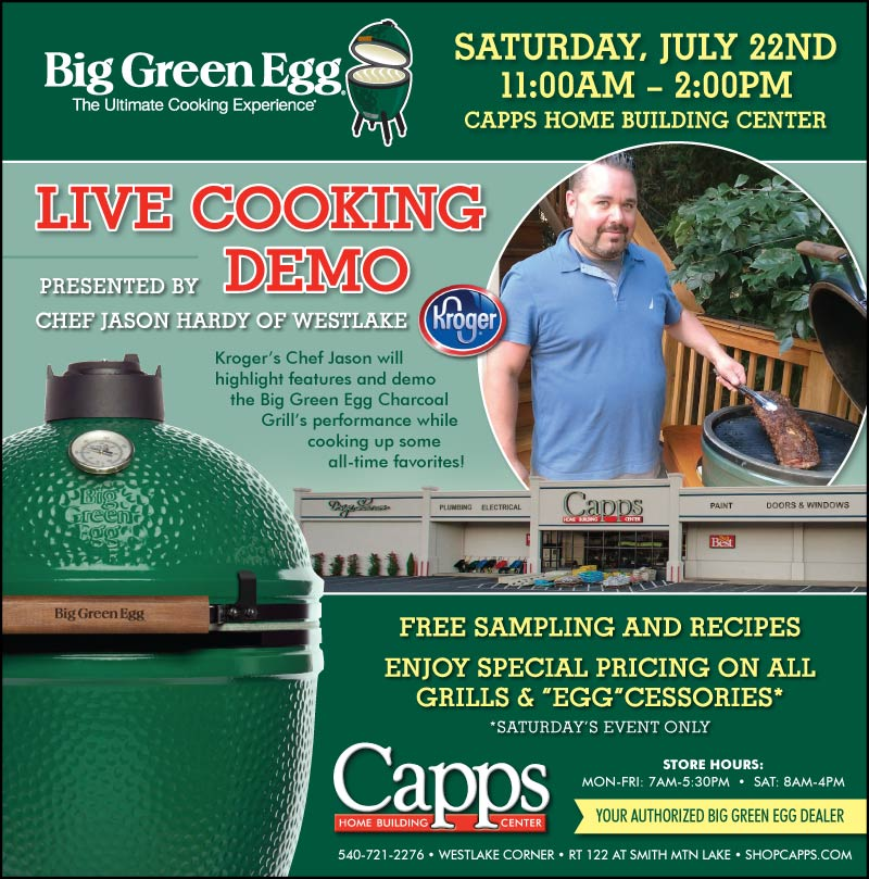 Big Green Egg cooking demo ad