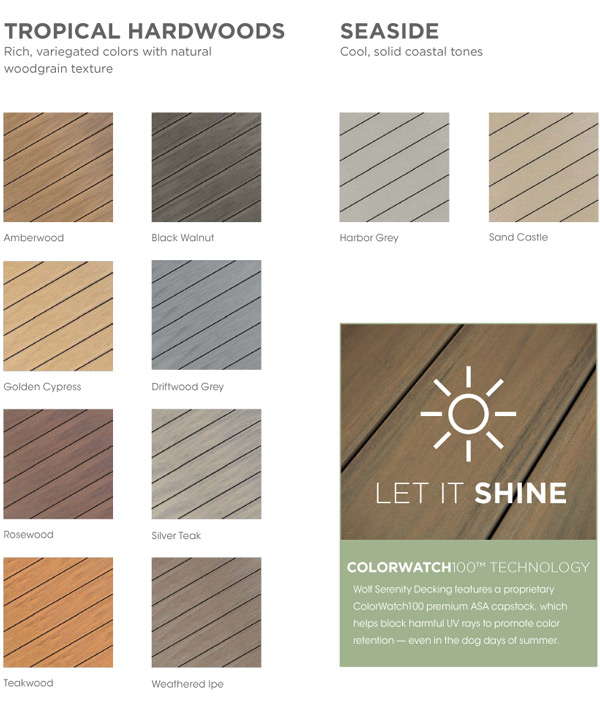 Wolf Serenity Decking Colors